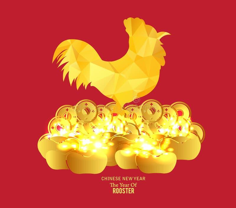 Goldene Münze des Chinesischen Neujahrsfests und roter Pakethintergrund vektor abbildung