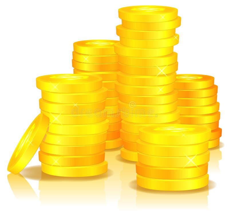 Goldene Münzen stock abbildung