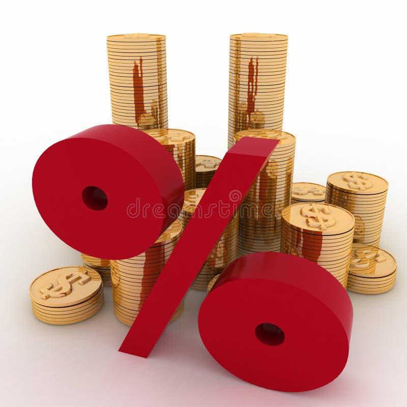 Goldene Münzen auf Prozenten lizenzfreie abbildung