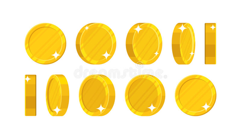 Goldene Münzen in den verschiedenen Positionen stock abbildung