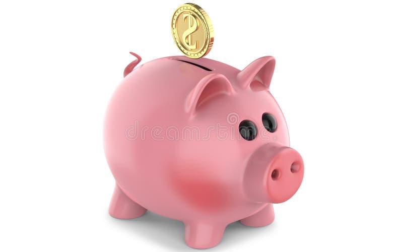 Goldene Münzen, die in einen Geldkasten, Sparschwein fallen Wiedergabe 3D, lokalisiert auf weißem Hintergrund vektor abbildung