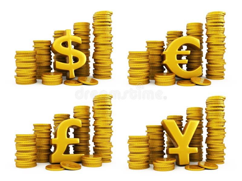Goldene Münzen stellten vom Bargeld ein stockfotos