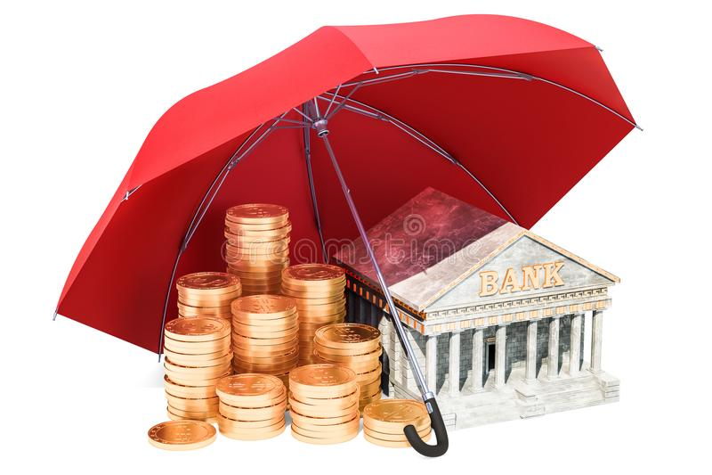 Goldene Münzen und Bankgebäude unter Regenschirm, Finanz-insuran vektor abbildung