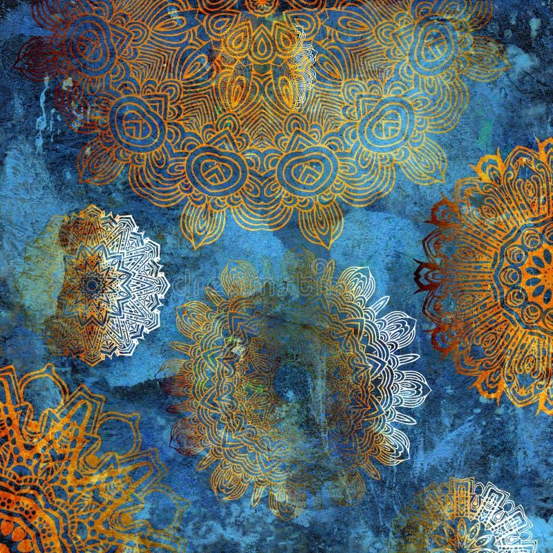 Goldene Mandalen auf blauer Wand lizenzfreie abbildung