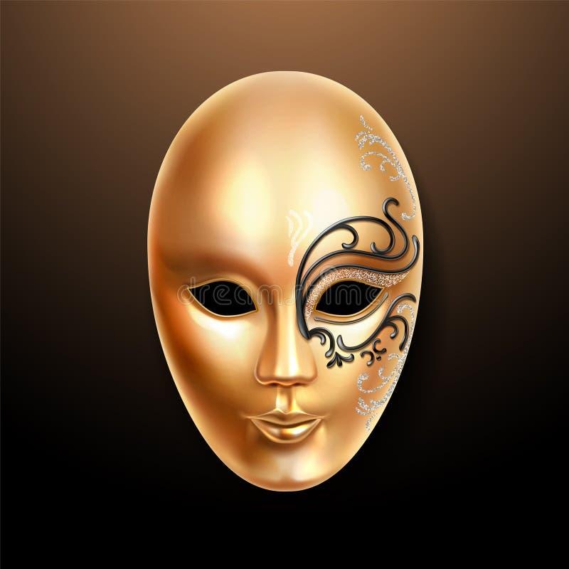 Goldene Maske Volto mit aufwändig Spitze lizenzfreie abbildung