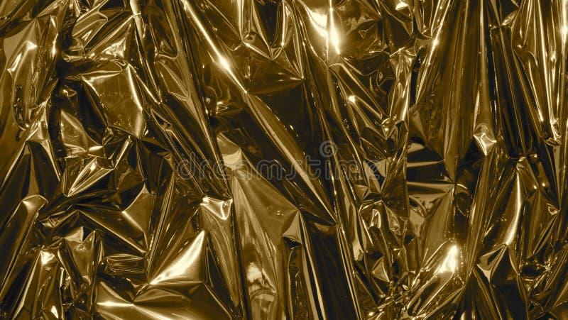 Goldene Metallfolie, geknittert und glänzend Nahaufnahme, abstrakter Bildhintergrund lizenzfreies stockbild