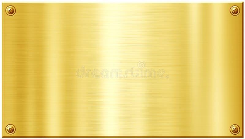 Goldene Metallplatte mit Schraubennagelköpfen lizenzfreie abbildung