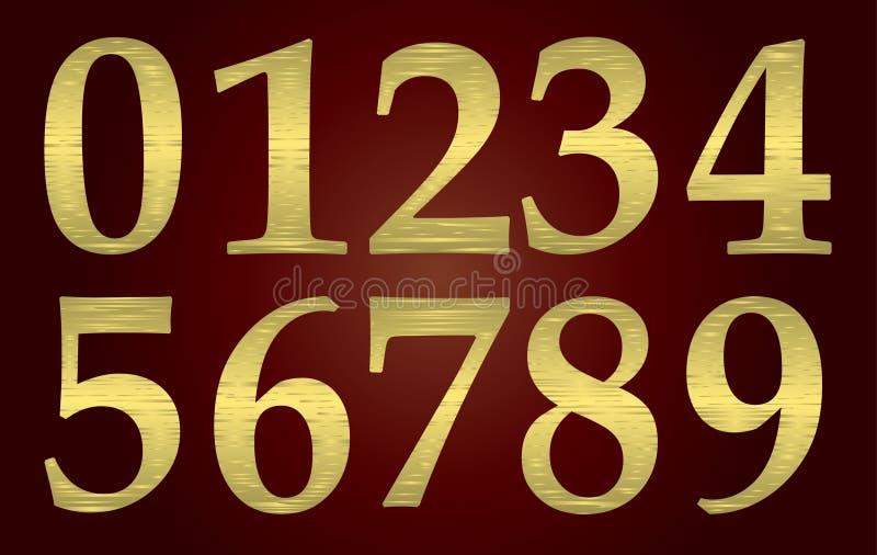 Goldene Metalzahlen vektor abbildung