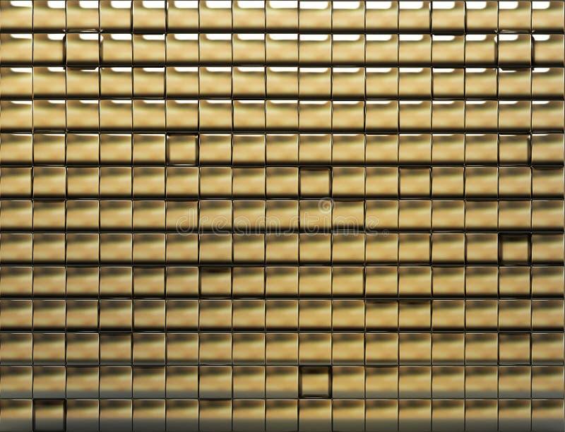 Goldene mit Ziegeln gedeckte Wand stockfoto