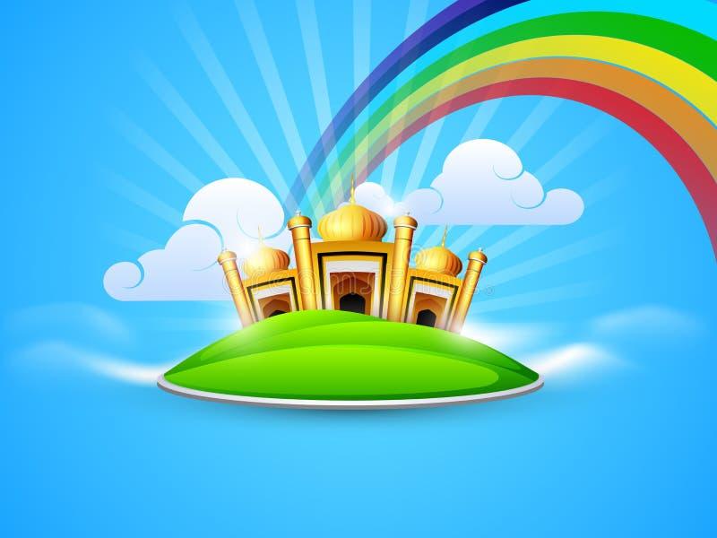Goldene Moschee und Masjid im Himmel auf Regenbogen vektor abbildung