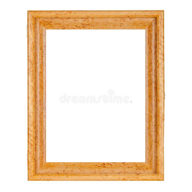 Goldene natürliche Farbleerer Holzrahmen für Bilder lizenzfreie stockfotografie