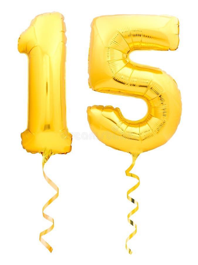 Goldene Nr. 15 fünfzehn machte vom aufblasbaren Ballon mit dem Band, das auf Weiß lokalisiert wurde lizenzfreie stockbilder