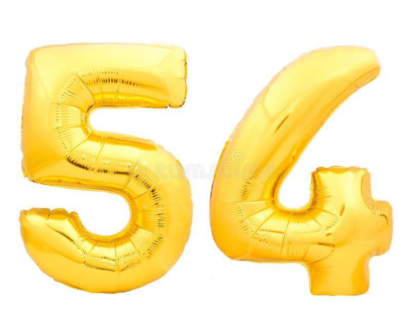 Goldene Nr. 54 vierundfünfzig machte vom aufblasbaren Ballon stockbild