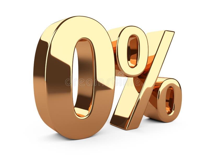 Goldene nullprozente oder 0% Sonderangebot vektor abbildung