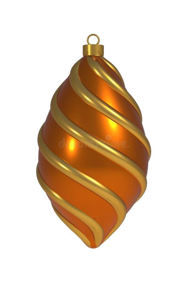 Goldene orange Windungslinien hängende Verzierungsandenken der Weihnachtsball Silvesterabenddekoration der Flitterwinterzeit lizenzfreie abbildung
