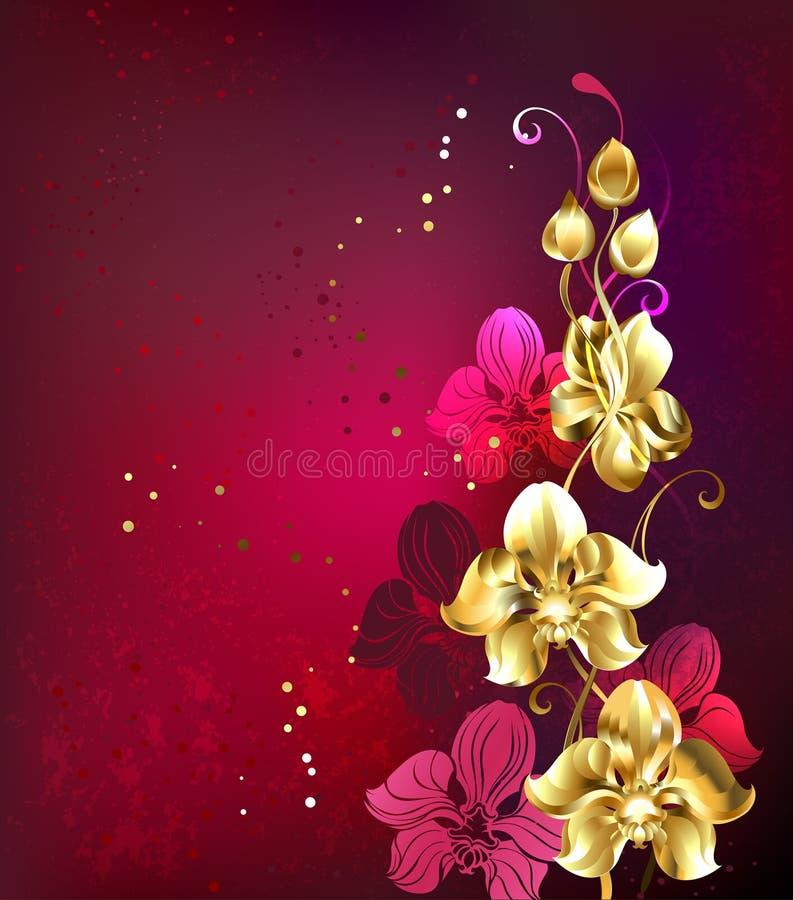 Goldene Orchidee lizenzfreie abbildung