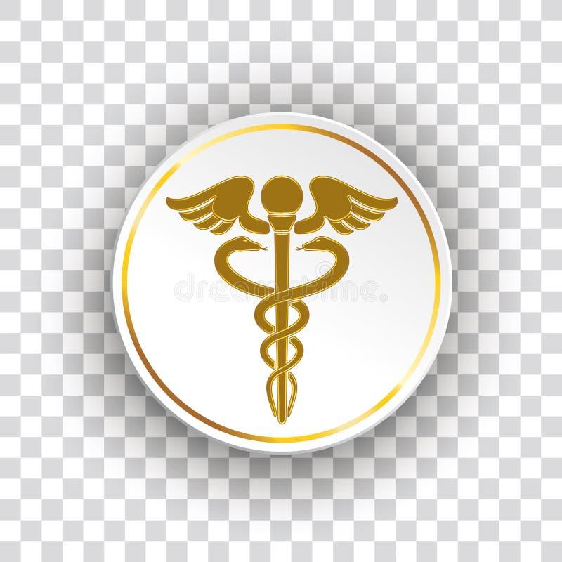 Goldene Papierkreis-Gesundheits-Aesculapian Personal stock abbildung