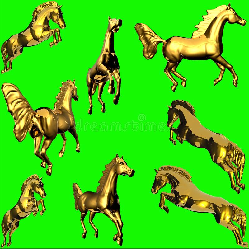 Goldene Pferdenstatue stockbilder