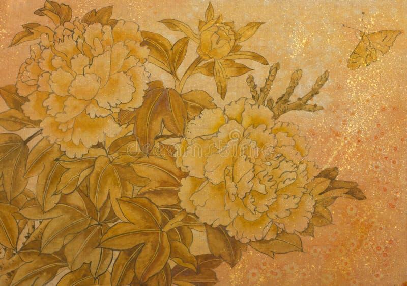 Download Goldene Pfingstrose Und Schmetterling Stock Abbildung - Illustration von knospe, element: 90235287