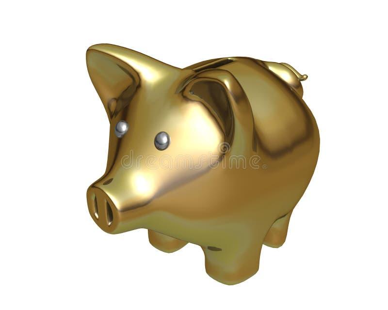 Goldene Piggy Querneigung stock abbildung