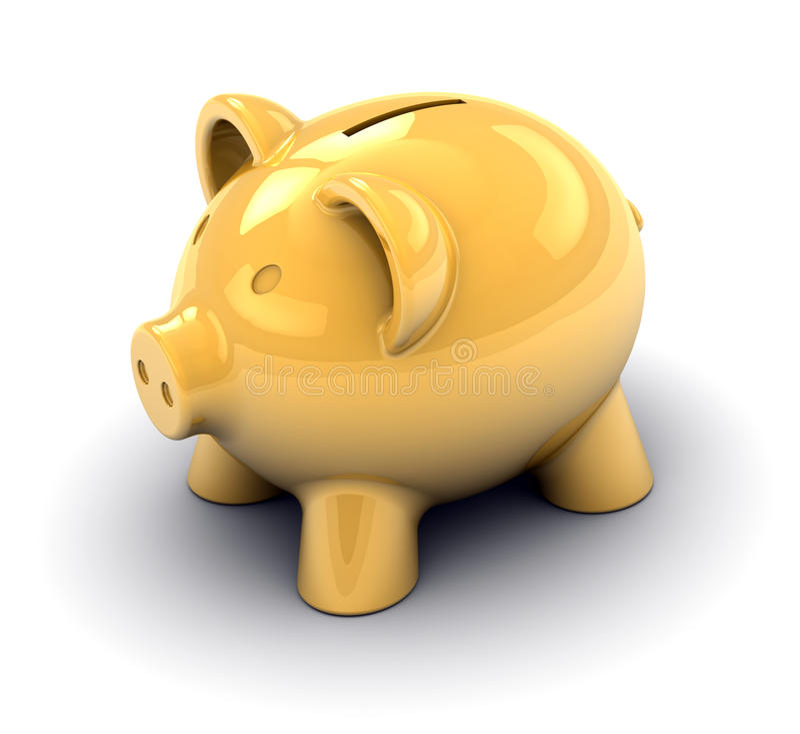 Goldene Piggy Querneigung Lizenzfreies Stockfoto