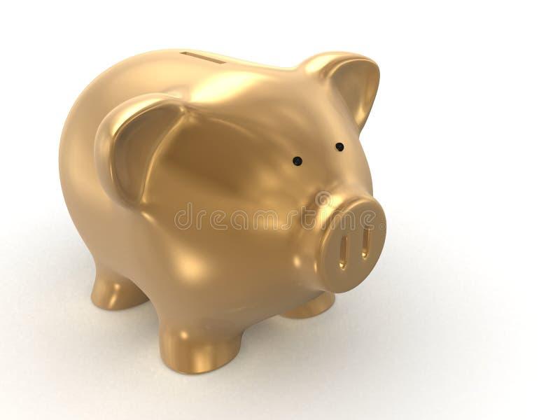 Goldene Piggy Querneigung lizenzfreie abbildung