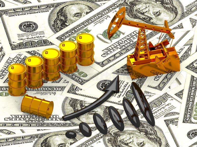 Goldene Pumpensteckfassung und verschüttetes Öl auf dem Geld 3d übertragen stockfotos