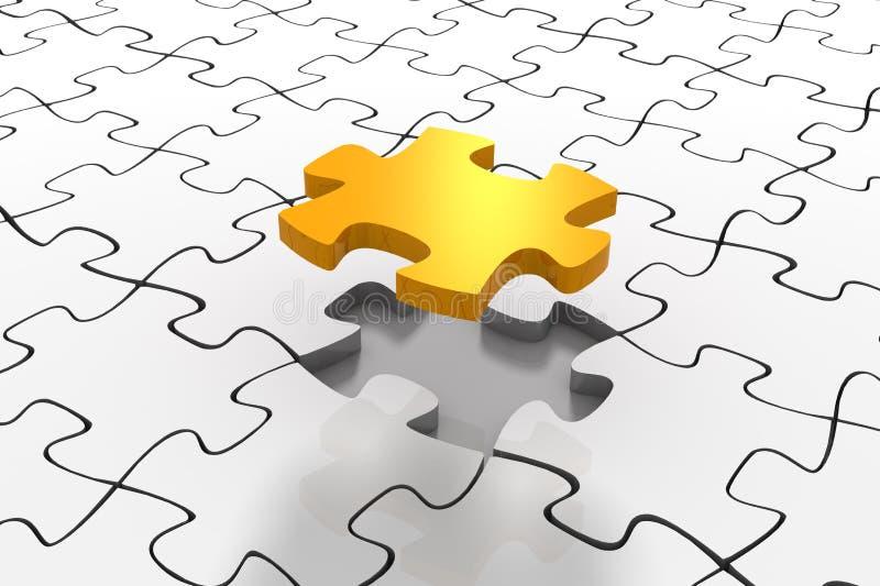 Goldene Puzzlespiel-Lösung lizenzfreie abbildung
