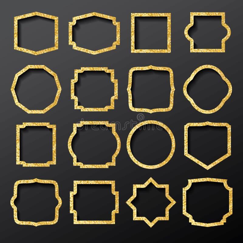 Goldene Rahmen eingestellt mit Funkeln-Beschaffenheit vektor abbildung