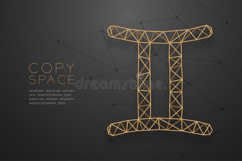 Goldene Rahmenkonstruktion Gemini Zodiac-Zeichen wireframe Polygons, Wahrsagerkonzeptdesignillustration lizenzfreie abbildung