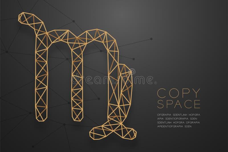 Goldene Rahmenkonstruktion Jungfrau-Sternzeichen wireframe Polygons, Fort stock abbildung