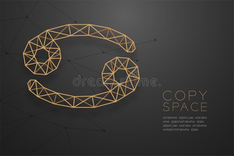 Goldene Rahmenkonstruktion Krebs-Sternzeichen wireframe Polygons, Wahrsagerkonzeptdesignillustration vektor abbildung