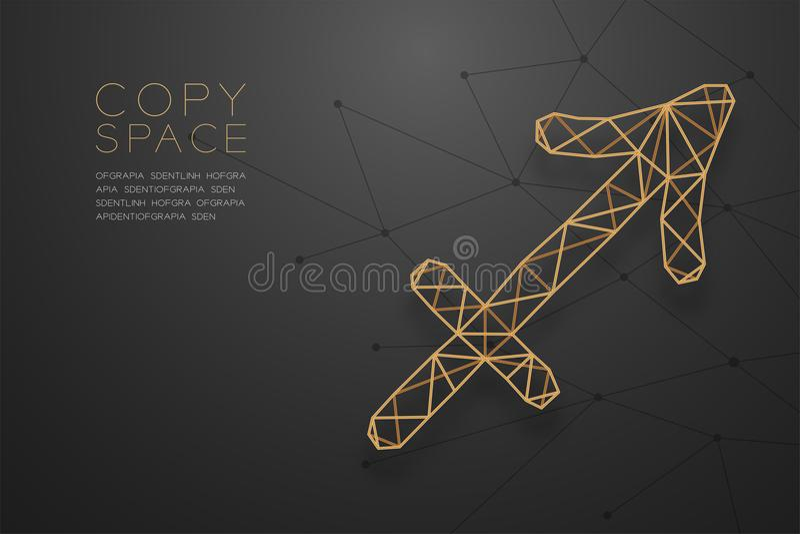 Goldene Rahmenkonstruktion Schütze-Sternzeichen wireframe Polygons, Wahrsagerkonzeptdesignillustration stock abbildung