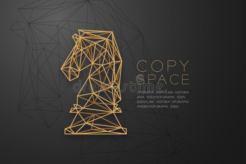 Goldene Rahmenkonstruktion Schach-Ritter wireframe Polygons, Geschäftsstrategie-Konzeptdesignillustration stock abbildung