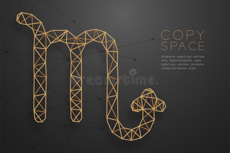 Goldene Rahmenkonstruktion Skorpions-Sternzeichen wireframe Polygons, FO vektor abbildung