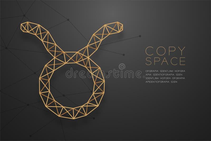 Goldene Rahmenkonstruktion Taurus Zodiac-Zeichen wireframe Polygons, Wahrsagerkonzeptdesignillustration vektor abbildung