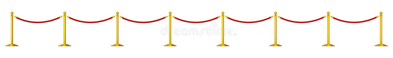 Goldene Säulen mit roten Seilen lizenzfreie abbildung