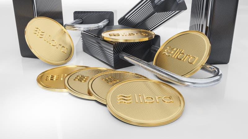 Goldene Schlüsselwährungswaagemünzen liegen auf weißem Hintergrund mit digitial Vorhängeschlössern lizenzfreie stockfotografie