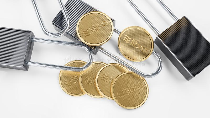 Goldene Schlüsselwährungswaagemünzen liegen auf weißem Hintergrund stockfoto