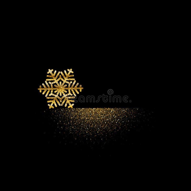 Goldene Schneeflocke, mit fallendem funkelndem Muster neues Jahr Staub Winters Weihnachts Lokalisierter Hintergrund des Vektors Z lizenzfreie abbildung