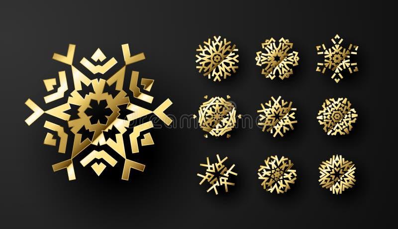 Goldene Schneeflocken für Weihnachtsfeiertage oder New Years Eve Card, Ornament und Hintergrund Design vektor abbildung