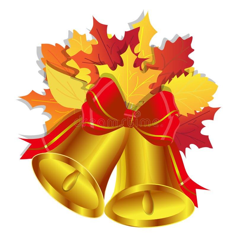 Goldene Schulglocken mit rotem Bogen und Blumenstrauß des Herbstlaubs lokalisiert auf weißem Hintergrund lizenzfreie abbildung