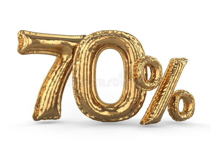 Goldene siebzig Prozent machten von den aufblasbaren Ballonen Prozentsatz 3d vektor abbildung