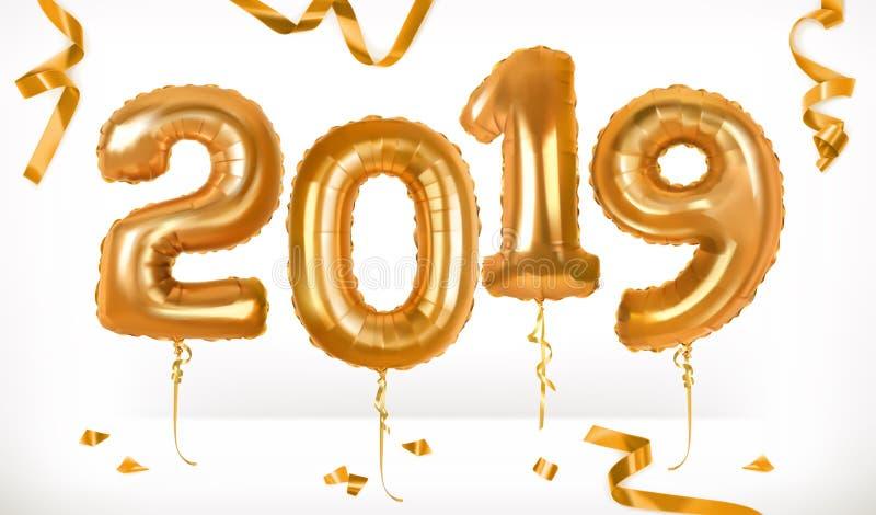 Goldene Spielzeugballone Guten Rutsch ins Neue Jahr 2019 Ikone des Vektor 3d stock abbildung