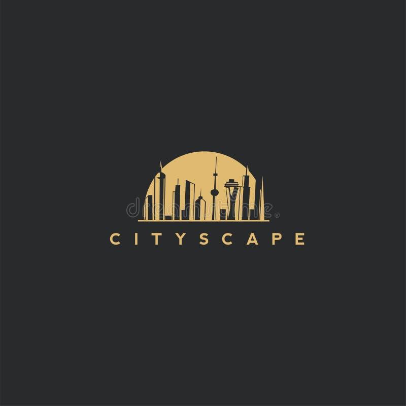 Goldene Stadtbildvektorillustration lizenzfreie abbildung