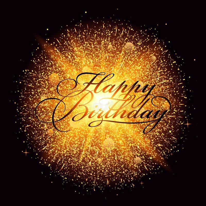 Goldene Staubfeuerwerksexplosion mit alles- Gute zum Geburtstagbeschriftung stock abbildung
