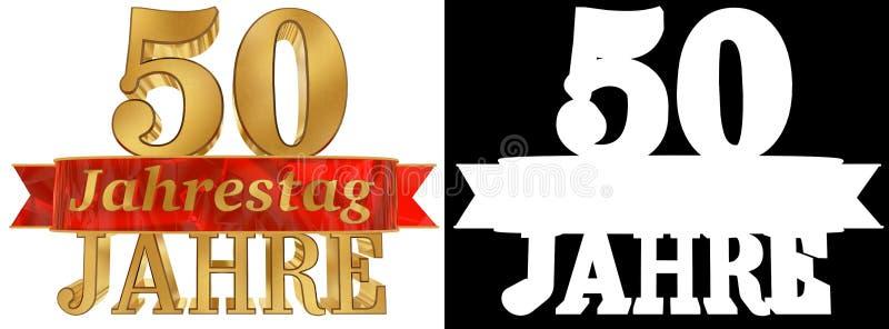 Goldene Stelle fünfzig und das Wort des Jahres Übersetzt vom Deutschen Abbildung 3D lizenzfreie abbildung
