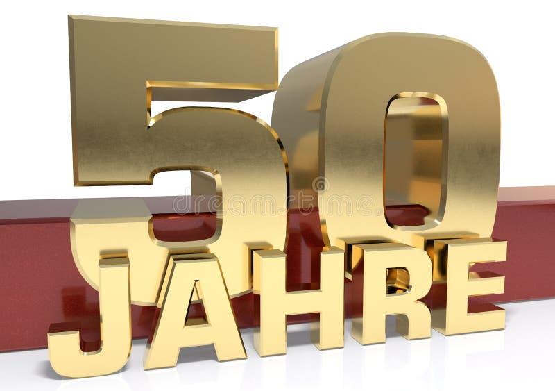 Goldene Stelle fünfzig und das Wort des Jahres Übersetzt vom Deutschen - Jahre Abbildung 3D lizenzfreie abbildung