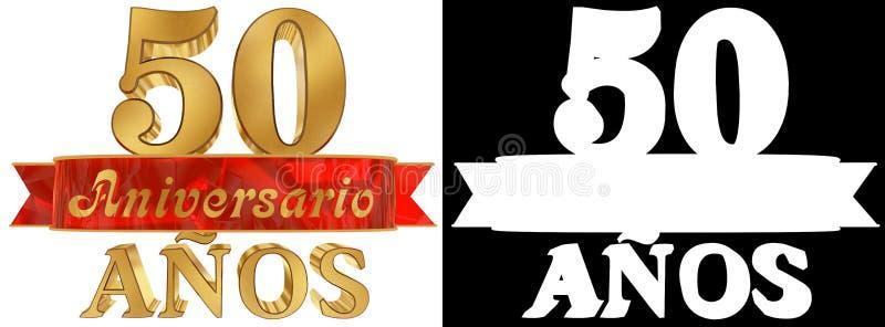 Goldene Stelle fünfzig und das Wort des Jahres Übersetzt vom Spanischen Abbildung 3D stock abbildung
