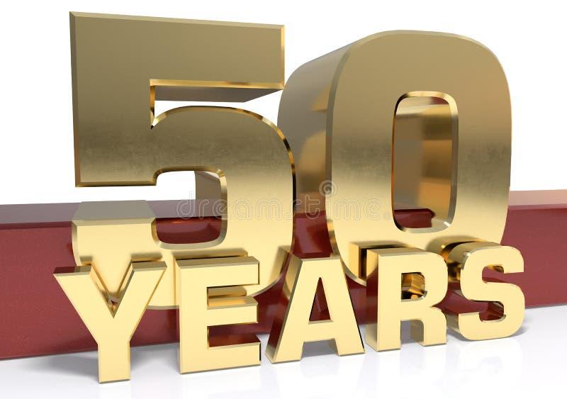 Goldene Stelle fünfzig und das Wort des Jahres Abbildung 3D stock abbildung